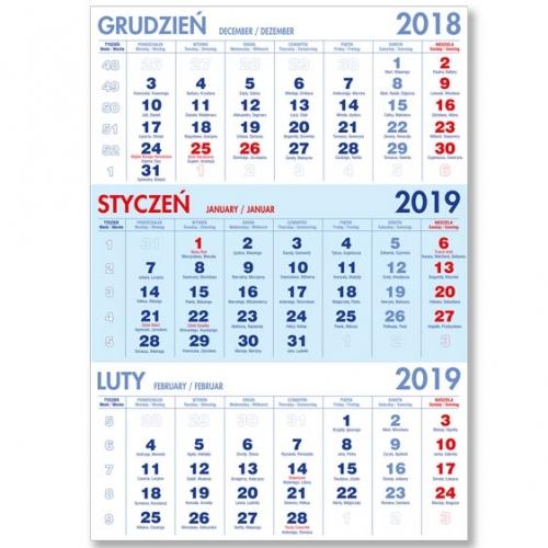 Kalendaria trójdzielne niebieskie