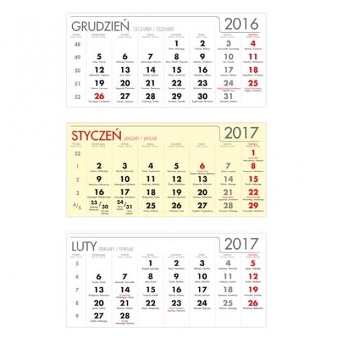 Kalendaria trójdzielne żółte