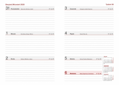 Kalendarz Nauczyciela A5 Tygodniowy NATURA
