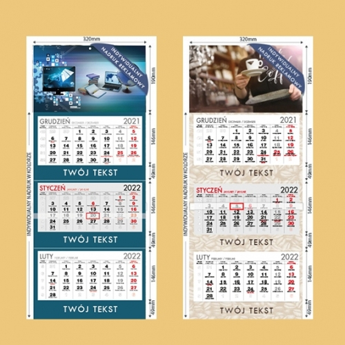 Kalendarze trójdzielne indywidualne - 500 szt.