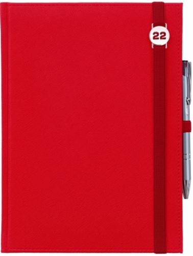 Kalendarz tygodniowy A4 z notesem CROSS CZERWONY z gumką z ażurową datówką