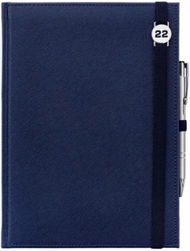 Kalendarz tygodniowy A4 z notesem CROSS GRANATOWY z gumką z ażurową datówką