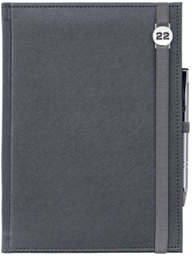 Kalendarz książkowy tygodniowy A4 CROSS SREBRNY z gumką z ażurową datówką