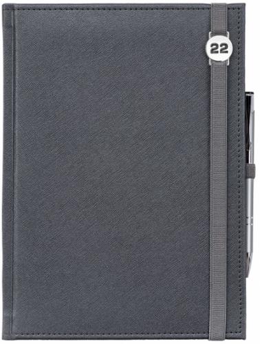 Kalendarz tygodniowy A4 z notesem CROSS SREBRNY z gumką z ażurową datówką