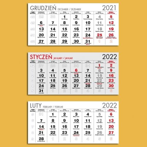 Kalendaria trójdzielne szare